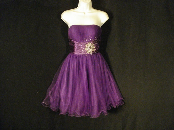 Purple Tulle Prom Party Dress Corset Back S
