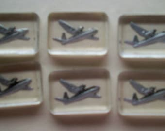 SALE 10 for 10 Airplanes Reverse Painted Glass Cabochons