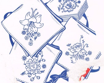 Two Aunt Martha's Floral Embroidery Transfers Aunt Martha's 3605 Posies for Linens and 3865 Sunflower Pansies Poinsettia Vintage Embroidery