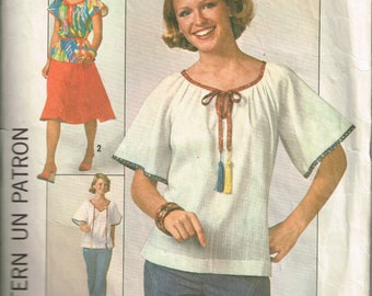 Vintage 1970s Simplicity pattern 8206 Miss size 8 pullover top with raglan sleeves and elastic neckline casing
