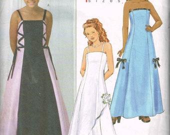Girls Formal Dress Butterick 4442 Size 7 to 14 Princess Seams Shoulder Straps Evening Length Girls Dress Party Dress 2005 Sewing Pattern