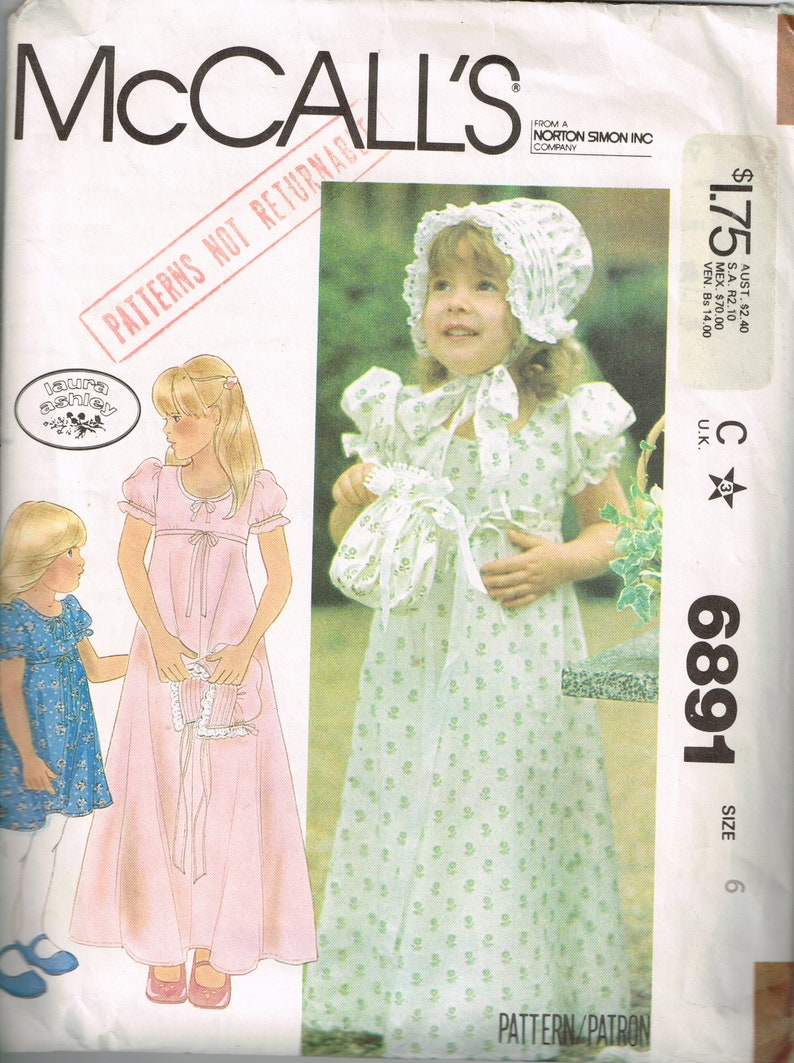 2876993e5 Laura Ashley Girls Dress and Bonnet Pattern McCalls 6891 Size | Etsy