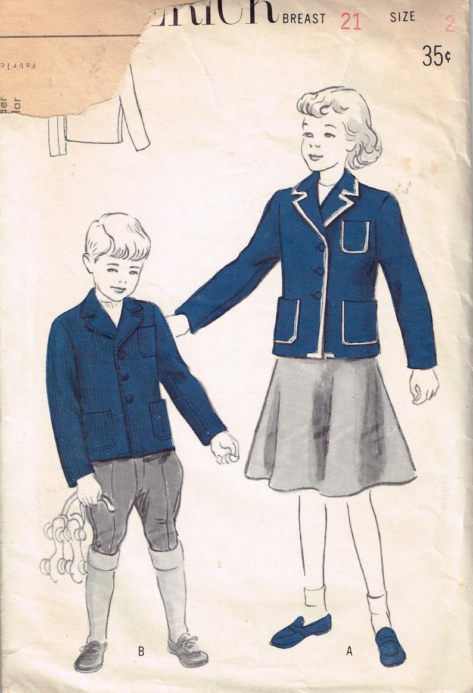 1930s Childs Blazer Pattern Butterick C 444 Size 2 Vintage image 1