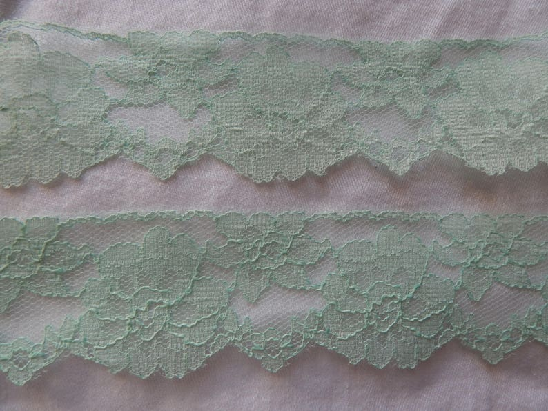 Vintage Mint Green Lace Trim by the Yard 2 inches wide Pale image 0