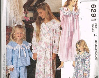 Girls Nightgown Pattern McCalls 6291 Size M L XL Pretty Feminine Nightgown or Pajamas With Large Collar Vintage 1992 Sewing Pattern
