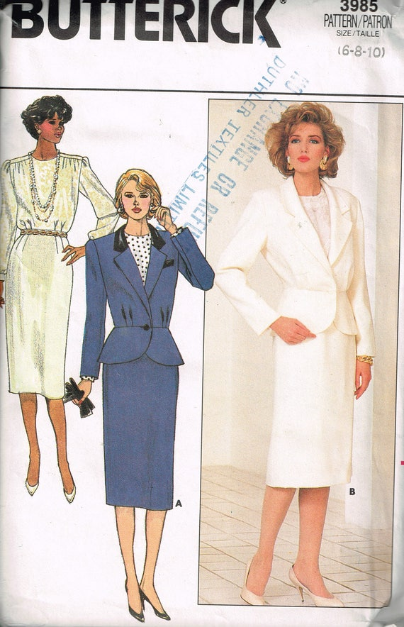 80s Womens Suit Pattern Butterick 3985 Bust 30 1/2 to 32 1/2 | Etsy