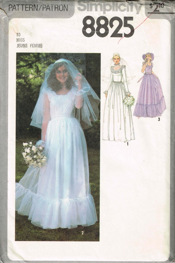 Boho Wedding Dress Pattern Simplicity 8825 70s Romantic | Etsy