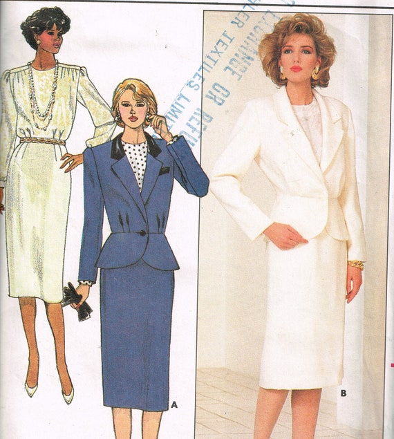 80s Womens Suit Pattern Butterick 3985 Bust 30 1 2 To 32 1 2 Etsy