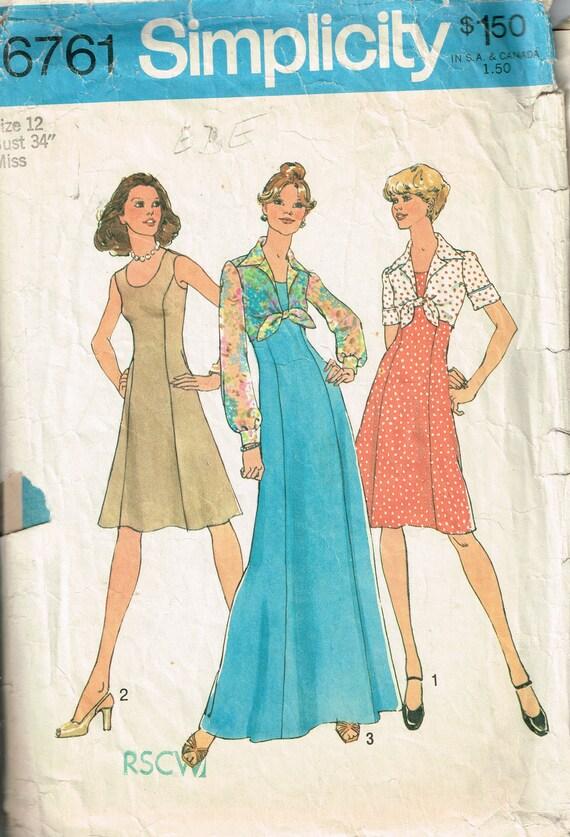 70er Jahre Prinzessin Naht Kleid Muster Einfachheit 6761 Büste | Etsy
