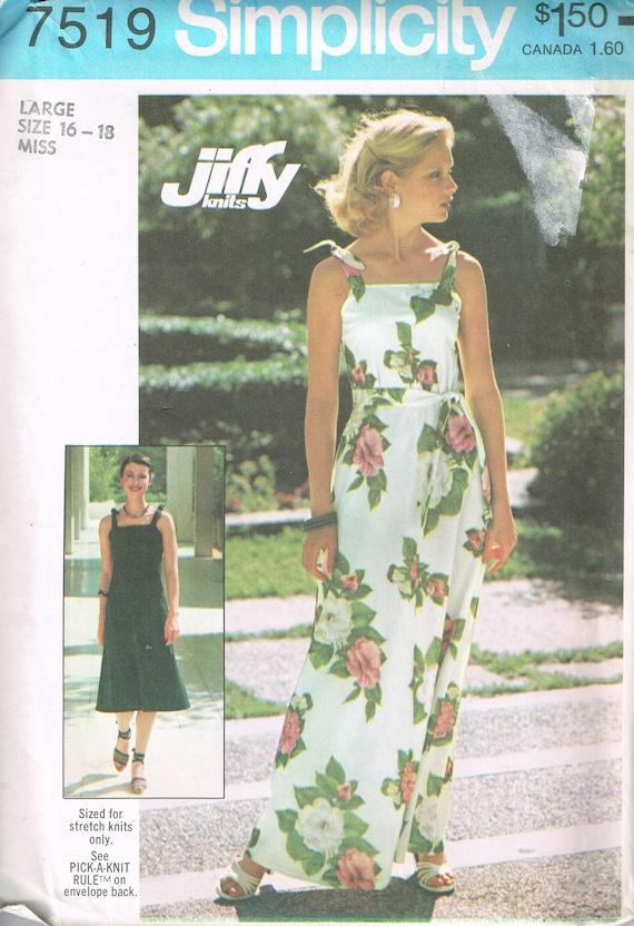 70s Knit Summer Dress Pattern Simplicity 7519 Size Large Bust | Etsy