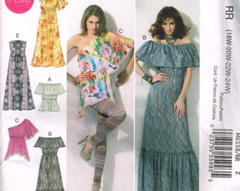 Plus Sized Summer Dress Pattern McCalls 6558 Bust 40 to 46 Elasticized Dress With Ruffle Casual Summer Top Uncut 2012 Sewing Pattern