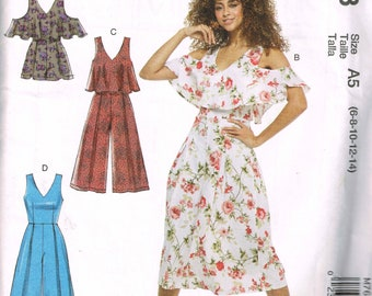 V Neck Romper and Jumpsuit McCalls 7608 Bust 30 to 36  Fun Off-Shoulder or Sleeveless Pantsuit Uncut 2018 Sewing Pattern