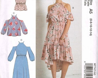 Romantic Off Shoulder Halter Dress With Ruffle McCalls 7747 Bust 30 to 36 Pullover Top or Feminine Summer Dress Uncut 2018 Sewing Pattern