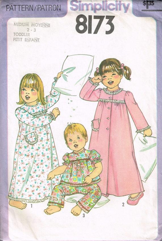 años 70 niñas camisón pijama patrón simplicidad 8173 tamaño 2 | Etsy