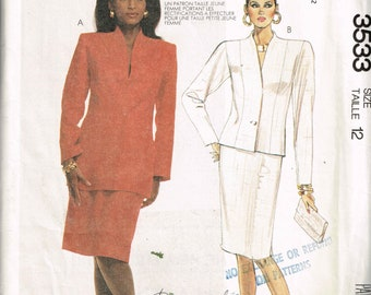 80s Lined Jacket and Skirt Pattern McCalls 3533 Size 12 Bust 34 Womens Suit Pattern Raised Collar Vintage Uncut 1988 Sewing Pattern