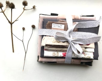 Inspiration Kit!  hand dyed and repurposed fabric and notions in shades of pink, gray and walnut