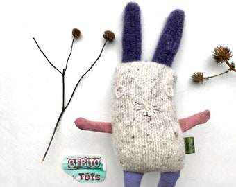Baby Lucky Bunny Soft Plush Toy  with purple pompom tail made from upcycled materials