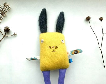 Baby Bunny Soft Toy in Bright Yellow Repurposed Cashmere