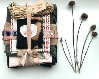 Inspiration Kit! Hand Dyed and Altered fabric and notions in shades of olive, pink, camel and navy for small projects and stitching projects