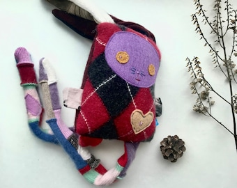 Lucky Bunny Softie Original Bebito Rabbit Bunny Plush Toy from Upcycled Wool Patchwork