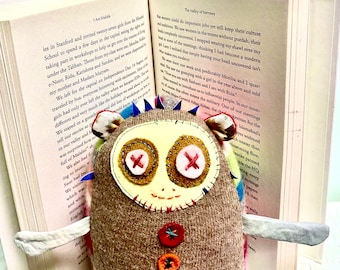 Dolores The Librarian Plush Toy in Pastel Colors Made From Upcycled Cashmere and Wool