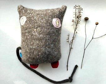 Kitty Plush Cat Softie made from up-cycled  fabric and hand embroidery, heather brown knit