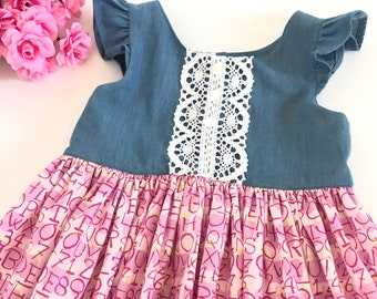 Size 4 Girls Flutter Sleeve Dress with Alphabet Skirt and Denim Top with Lace Accents