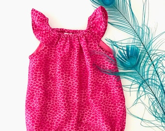 6M Baby Girl Bubble Romper, Bright Pink Leopard Print, Baby Bubble, Flutter Sleeve Romper, Baby Romper, Baby Bubble Romper