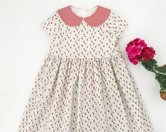 Size 6 Girls Classic Style Back To School Dress with Red Gingham Collar and Short Sleeves, First Day of School Dress