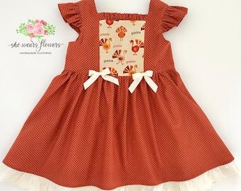 4/5 Girls Thanksgiving Dress, Turkey Dress, Fall Dress
