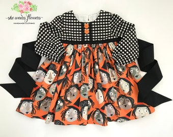 4T Girls Halloween Gingham Dress, Which Witch, Black and White Gingham, Boutique Dress