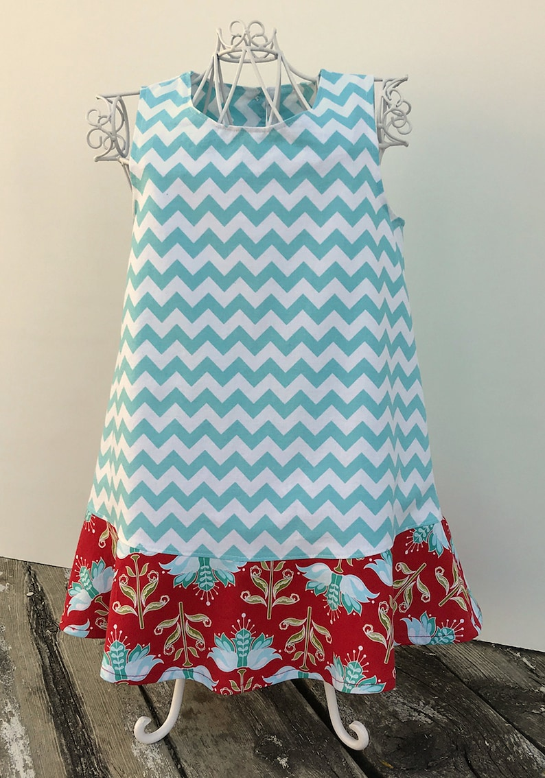 5b43fdb10 Toddler Girls' Turquoise Chevron Shift Dress with Red | Etsy