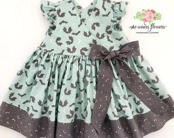 12M Girls Bats & Ghouls Halloween Dress, Glow-in-the-Dark Halloween Dress, Baby Halloween Dress, Wrap Dress