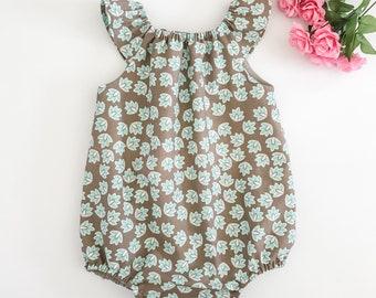 6M Baby Girl Romper, Flutter Sleeve Romper, Mushroom and Aqua Floral, Baby Romper, Baby Girl Playsuit, Baby Bubble Romper
