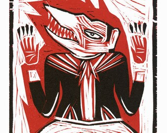Prophets of Tomorrow, Woodcut Relief, hand carved and hand printed, Limited Ed ONLY FEW REMAIN