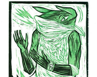 Galactic Drifter, Woodcut - Hand-printed Reduction Woodcut, Original Relief Print, Limited Edition