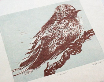 Swallow, Woodcut - Original Relief Two-Color Woodcut, Hand-Printed on Kitakata Japanese Paper, Limited Edition of 6