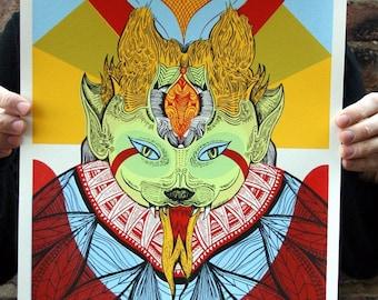 Fierce Cat of Existence - Original Silkscreen Art, Limited Edition Hand-pulled screen print
