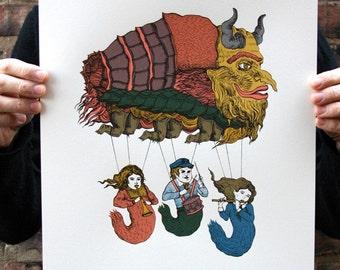 Magical Creature Parade, Original Screenprint, Hand-printed, Limited Ed