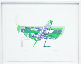Grasshopper, Silkscreen - Large Original Screenprint, Hand printed, Limited Edition of 20 only