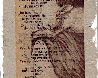 The Good Shepherd Psalm 23 on Handmade Paper