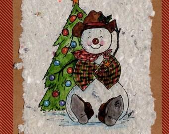 Christmas Cowboy Snowman Card 4 pack