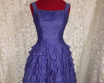 Vtg 50s Emma Domb Organza Prom Party dress Ruffles galore! sz XS
