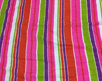 Vintage 60s Bright Bold striped Terrycloth Fabric 1 yd by 42w