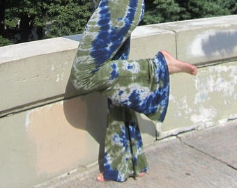 Palazzo Pants, S-2XL, Tie Dye Yoga Pants, Wide Leg, Fold-over Waist Band, Bohemian, Exercise, Athletic, Bell Bottoms, Gypsy