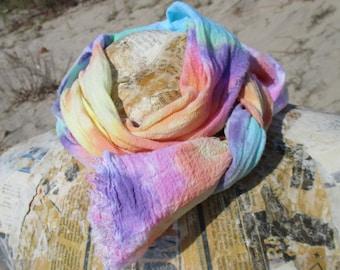 Pretty Rainbow Tie Dye Scarf, Cotton Gauze Scarf, Hand Dyed, Two Width