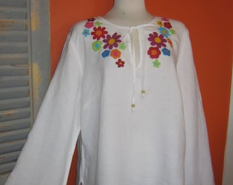 Embroidered Linen Peasant Blouse, Talbots, Hand Decorated, Embellished, XL, Plus Size, Crocheted, Bohemian, Gypsy