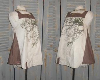 Bohemian Upcycled Tunic, Tree Pattern, Boho Chic, Artsy, Gypsy, Hippie Girl, Wearable Fiber Art
