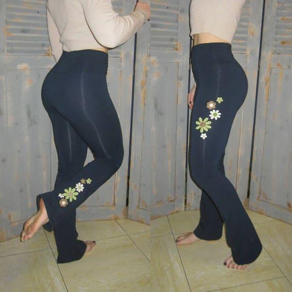 222f59239882b Boho Yoga Pants Embroidered Bohemian Tall Fit Flare | Etsy