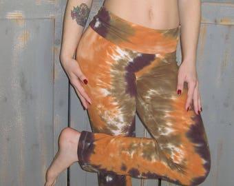 Funky Tie Dye Yoga Pants, Fold-over Waist Band, Bohemian, Exercise